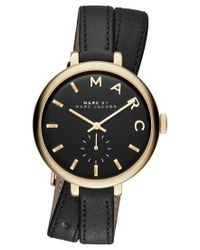 Marc Jacobs | Women's Sally Black Double Wrap Leather Strap Watch 36mm Mbm8663 | Lyst