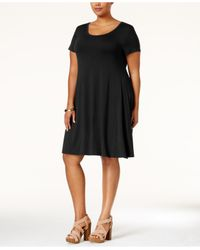 Style & Co. | Black Plus Size Short-sleeve Swing Dress, Only At Macy's | Lyst