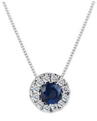 Macy's | Blue Sapphire (3/5 Ct. T.w.) And Diamond (1/5 Ct. T.w.) Halo Pendant Necklace In 14k White Gold | Lyst