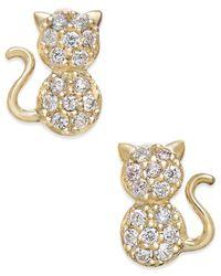 Macy's | Metallic Cubic Zirconia Kitty Cat Stud Earrings In 10k Gold | Lyst