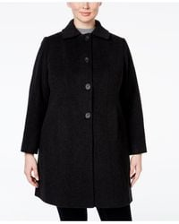Anne Klein | Black Plus Size Wool-cashmere Single-breasted Walker Coat, Only At Macy's | Lyst