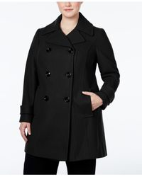 Anne Klein | Black Plus Size Double-breasted Peacoat, Only At Macy's | Lyst