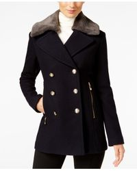 Vince Camuto | Blue Faux-fur-collar Double-breasted Peacoat | Lyst