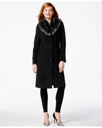 Jones New York - Black Faux-fur-collar Maxi Walker Coat - Lyst