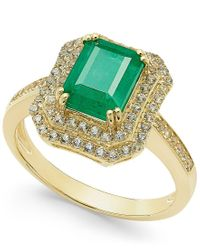 Macy's | Green Emerald (1-1/2 Ct. T.w.) And White Sapphire (1 Ct. T.w.) Rectangular Statement Ring 14k Gold | Lyst