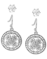 Touch Of Silver | Metallic 2-pc. Set Stud And Crystal Disc Drop Earrings In Silver-plate | Lyst