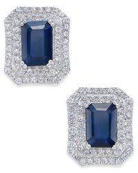 Macy's | Metallic Blue Sapphire (3 Ct. T.w.) And White Sapphire (1 Ct. T.w.) Rectangular Stud Earrings In 14k White Gold | Lyst