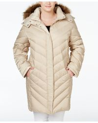 Kenneth Cole | Natural Plus Size Faux-fur-trim Chevron Quilted Down Puffer Coat | Lyst