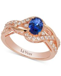 Le Vian | Blue Sapphire (7/8 Ct. T.w.) And Diamond (3/8 Ct. T.w.) Twisted Shank Ring In 14k Rose Gold | Lyst