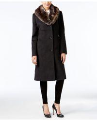 Jones New York | Black Petite Faux-fur-collar Walker Coat | Lyst
