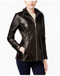 Michael Kors   Black Zip-front Leather Jacket   Lyst