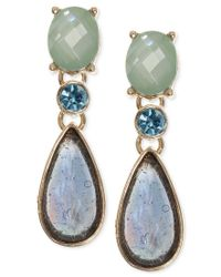 Anne Klein - Metallic Gold-tone Stone And Crystal Drop Earrings - Lyst