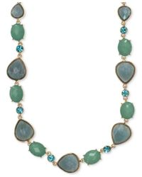 Anne Klein | Metallic Gold-tone Stone And Crystal Statement Necklace | Lyst