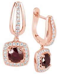 Macy's | Pink Ruby (1-3/8 Ct. T.w.) And Diamond (1/2 Ct. T.w.) Square Drop Earrings In 14k Gold | Lyst