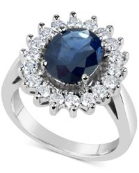 Macy's | Metallic Sapphire (3 Ct. T.w.) And Diamond (3/4 Ct. T.w.) Ring In 14k White Gold | Lyst