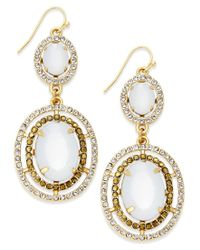 INC International Concepts - Metallic Gold-tone Colored Crystal And Stone Double-drop Earrings, Only At Macy's - Lyst