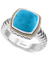 Effy Collection | Blue Turquesa By Effy Manufactured Turquoise Statement Ring (4-3/8 Ct. T.w.) In Sterling Silver And 18k Gold | Lyst