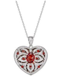 Macy's   Metallic Garnet (2 Ct. T.w.) And Diamond (1/10 Ct. T.w.) Locket Pendant Necklace   Lyst
