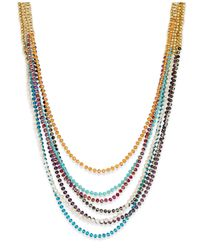 ABS By Allen Schwartz - Metallic Gold-tone 7-row Beaded Necklace - Lyst