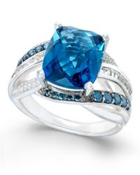 Macy's | Blue Topaz (6-1/3 Ct. T.w.) And Diamond (5/8 Ct. T.w.) Statement Ring In 14k White Gold | Lyst