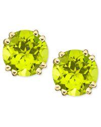 Macy's   Metallic 14k Gold Peridot Stud Earrings (4 Ct. T.w.)   Lyst