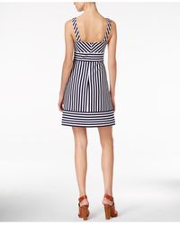 Maison Jules - Black Striped A-line Dress - Lyst