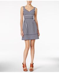 Maison Jules - Black Striped A-line Dress - Lyst