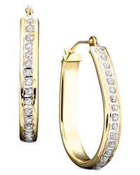 Macy's | Metallic 14k Gold Diamond-accented Pear-shaped Hoop Earrings | Lyst