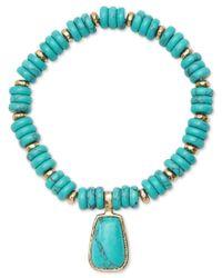 Lauren by Ralph Lauren - Gold-tone Blue Beaded Stone Charm Stretch Bracelet - Lyst