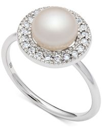 Macy's | Metallic Freshwater Pearl (7-1/2mm) And White Topaz (1/5 Ct. T.w.) Ring In Sterling Silver | Lyst