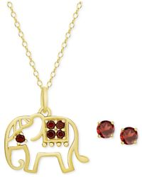 Macy's - Metallic Rhodolite Garnet Elephant Pendant Necklace And Stud Earrings Set (7/8 Ct. T.w.) In 18k Gold-plated Sterling Silver - Lyst