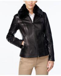 Jones New York | Black Faux-fur-collar Leather Jacket | Lyst