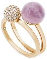 Michael Kors | Metallic Gold-tone 2-pc. Set Crystal Fireball And Purple Stone Stack Rings | Lyst