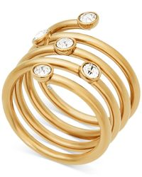Michael Kors | Metallic Gold-tone Crystal Spiral Ring | Lyst