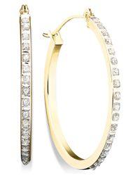 Macy's - Metallic Diamond Accent Hoop Earrings In 14k Gold - Lyst