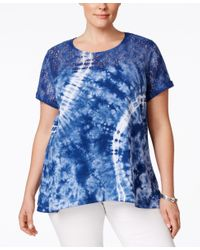 Style & Co. - Blue Plus Size Lace-trim Tie-dyed Top, Only At Macy's - Lyst