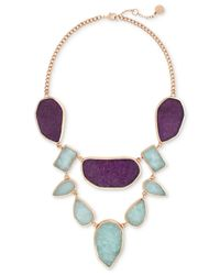 Vince Camuto | Rose Gold-tone Purple And Blue Stone Statement Necklace | Lyst