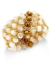 INC International Concepts - Metallic Gold-tone Multi-stone Stretch Bracelet, Only At Macy's - Lyst