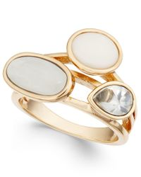 INC International Concepts | Metallic Gold-tone White Stone And Crystal Statement Ring, Only At Macy's | Lyst