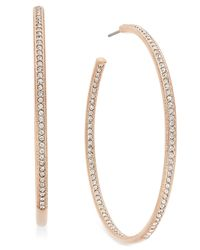 Danori | Metallic Rose Gold-tone Inside Out Pave Hoop Earrings, Only At Macy's | Lyst