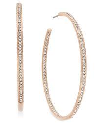 Danori | Metallic Rose Gold-tone Inside Out Pavé Hoop Earrings | Lyst