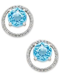 Macy's   Blue Topaz (1-7/8 Ct. T.w.) And Diamond (1/6 Ct. T.w.) Round Halo Stud Earrings In Sterling Silver   Lyst