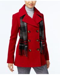 London Fog | Red Double-breasted Peacoat With Scarf | Lyst