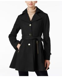 INC International Concepts | Black Belted Skirted Swing Coat, Only At Macy's | Lyst