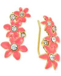 kate spade new york - Metallic Lovely Lillies Gold-tone Enamel Floral Ear Crawlers - Lyst