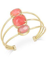 kate spade new york - Metallic Sun-kissed Sparkle Gold-tone Pink Stone Trio Cuff Bracelet - Lyst