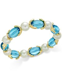 Charter Club | Metallic Gold-tone Imitation Pearl And Aqua Stone Stretch Bracelet, Only At Macy's | Lyst