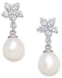 Macy's | Metallic Cultured Freshwater Pearl (7x9mm) And Cubic Zirconia Flower Top Drop Earrings In Sterling Silver | Lyst