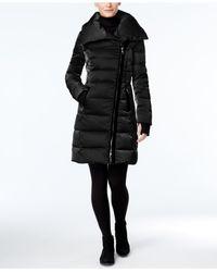 Vera Wang   Black Velvet-trim Asymmetrical Puffer Coat   Lyst