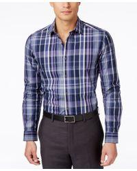 Alfani - Blue Men's Big And Tall Slim Locker Plaid Long-sleeve Shirt, Only At Macy's for Men - Lyst